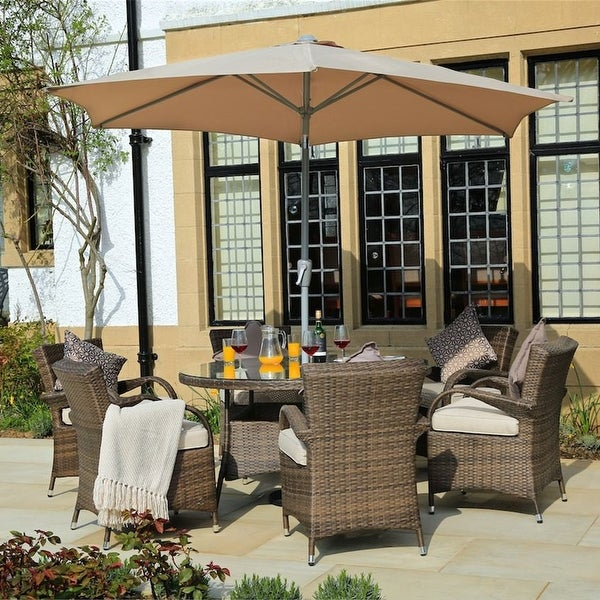 Turin Round Outdoor 7 Piece Patio Wicker Dining Set with Eton Chairs by Direct Wicker. Opens flyout.