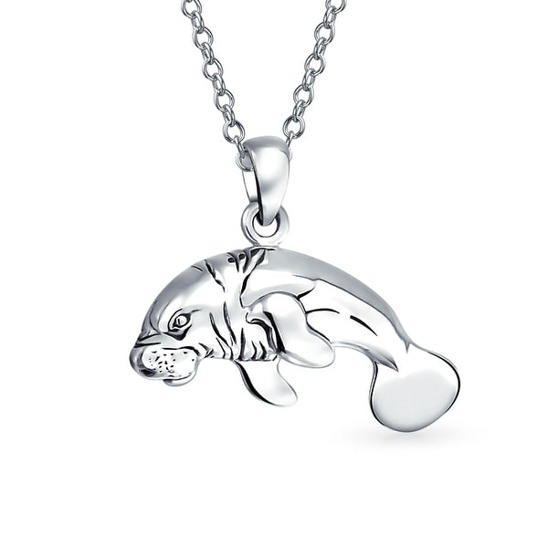 1d28b606b Nautical Manatees Sea Cow Ocean Sea life Pendant Necklace For Women For Men 925  Sterling Silver