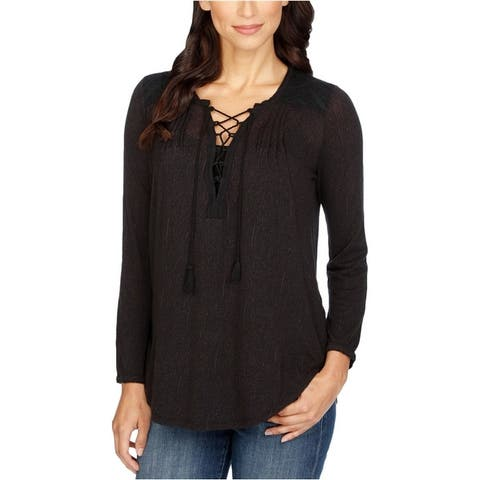 Lucky Brand Womens Front Lace Up Pullover Blouse
