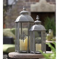 Set of 2 Gray Antique Style Mesh Lantern Pillar Candle Holders 25.5""