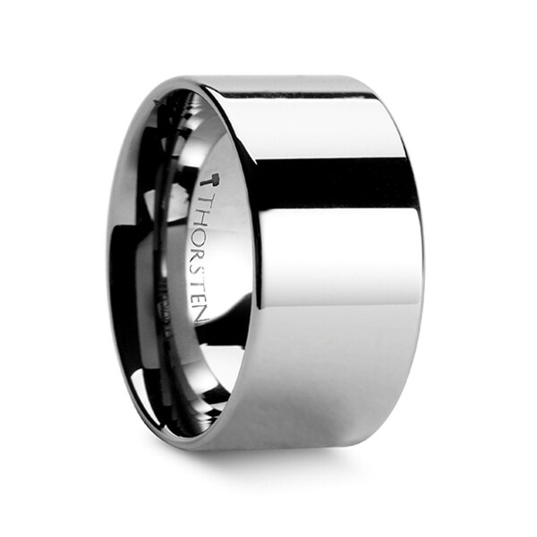 CHARLESTON Flat Polished Finish Tungsten Carbide Band - 12 mm