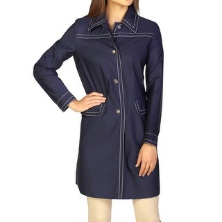 Prada Women's Nylon Trench Coat Navy Blue