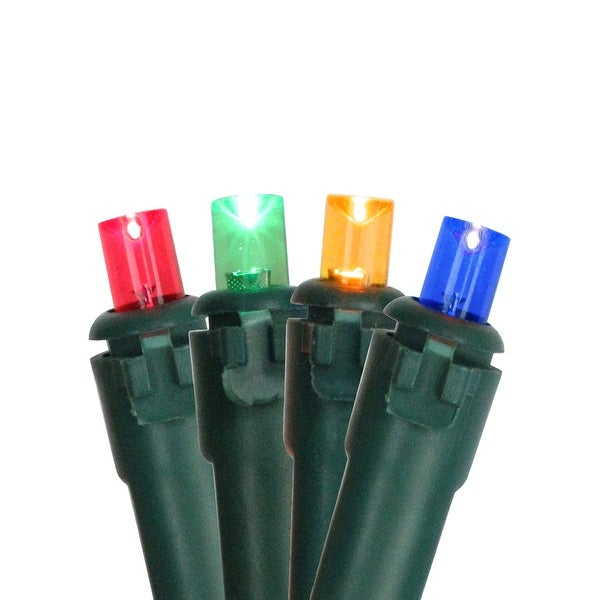 Set of 100 Multi Color LED Wide Angle Christmas Lights - Green Wire