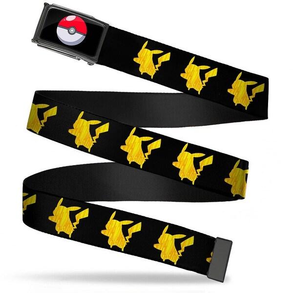 Poke Ball Fcg Chrome Pikachu Silhouette Black Yellows Webbing Web Belt