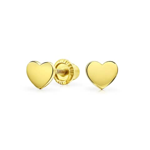 Tiny Minimalist Heart Shaped Stud Earrings For Women For Teen For Girlfriend Real 14K Yellow Gold Screwback
