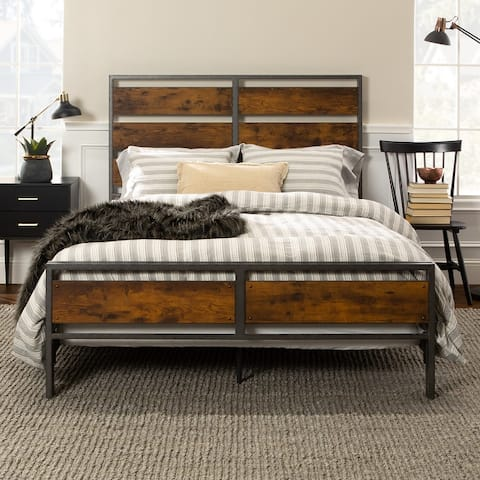 Carbon Loft Jolly Rustic Industrial Plank Bed
