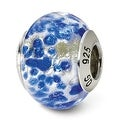 Italian Sterling Silver Reflections Silver/Blue Murano Bead (4mm Diameter Hole) - Thumbnail 0