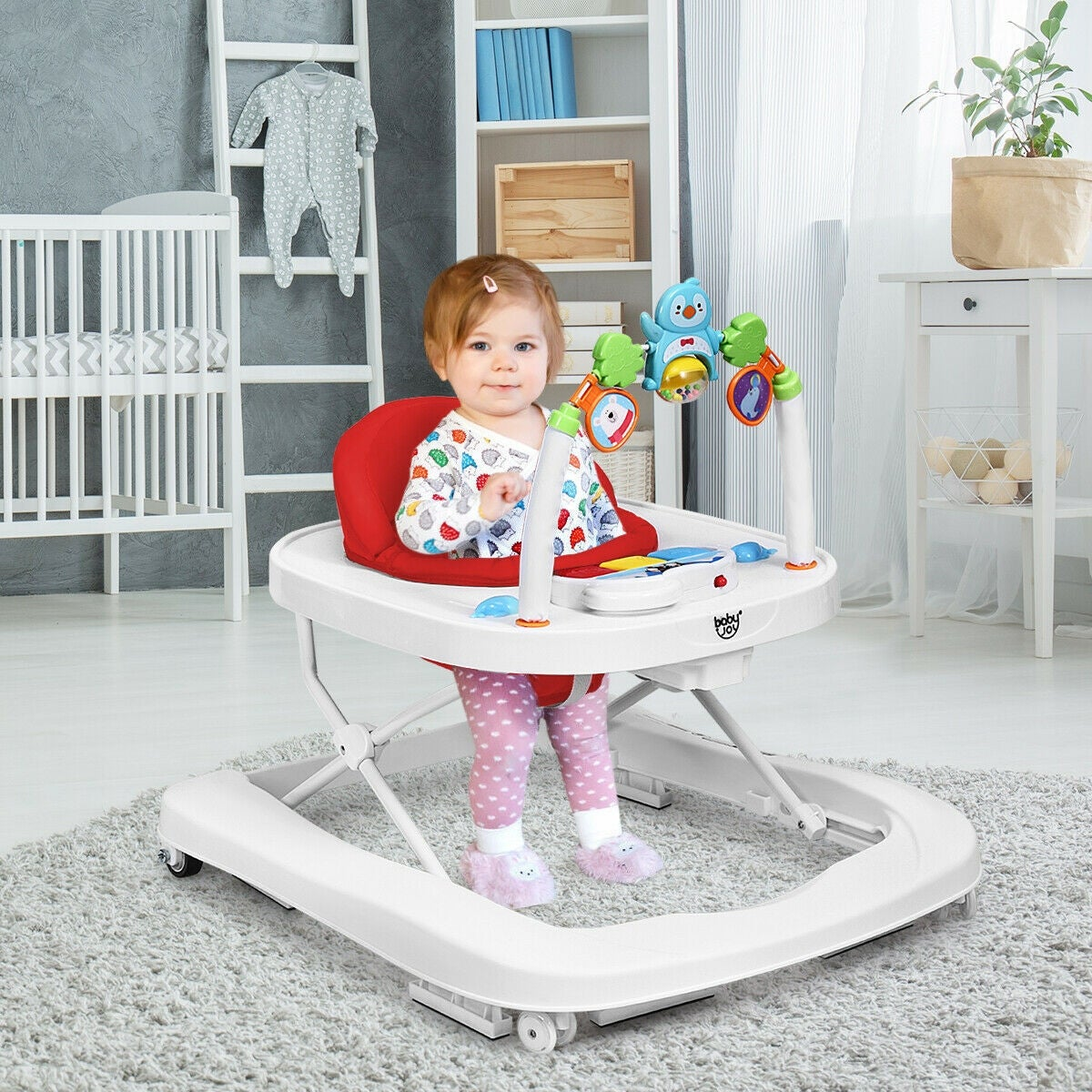Foldable Adjustable Toddler Walker with Padded Seat,Sit-to-Stand Table Chairs Set with Jumping Board and Sound Lights Leadmall Baby Walker Activity Center with Wheels Putter