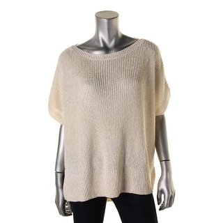 DKNY Jeans Womens Ribbed Knit Sequinned Tunic Sweater - L