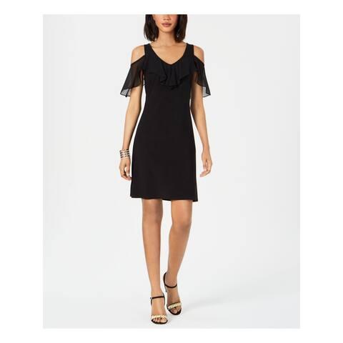 MSK Womens Black Short Sleeve Short Sheath Cocktail Dress Size PM