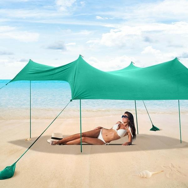 Costway Family Beach Tent Canopy w/ 4 Poles Sandbag Anchors 7'x7' - See Description. Opens flyout.