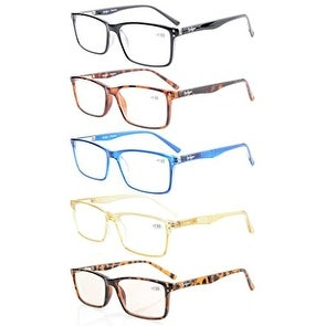 Eyekepper 5-Pack Stylish Readers Quality Spring Hinges Reading Glasses+3.0