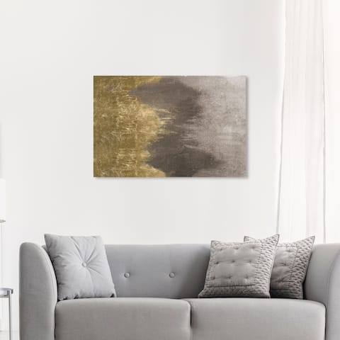 Oliver Gal 'Taupe Waves' Abstract Wall Art Canvas Print Paint - Gold, Gray