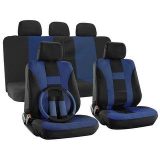 OxGord H Stripe Universal Fit Airbag Compatible 17 PC Seat Cover Set