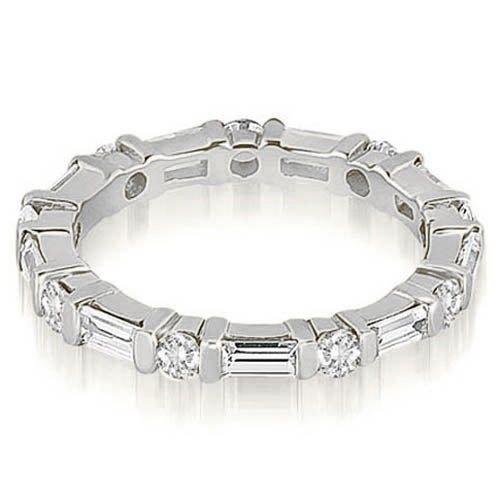 1.25 cttw. 14K White Gold Baguette and Round Diamond Eternity Ring