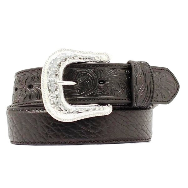 Nocona Western Belt Mens Leather Tooled Overlay Black