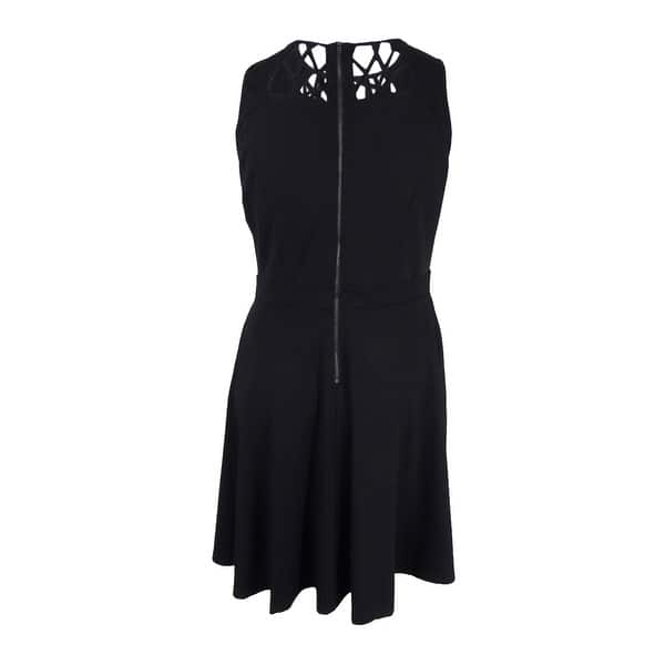 City Chic Women\'s Trendy Plus Size Cutout Skater Dress - Black