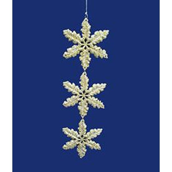 "Seasons of Elegance Gold Glitter Snowflake Dangle Christmas Ornament 7.5"""