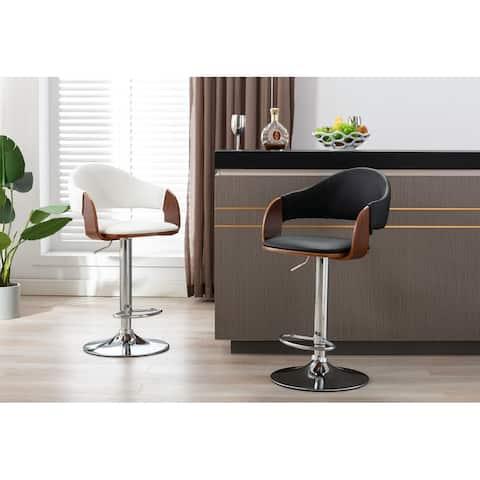 Porthos Home Emir Height Adjustable Bar Stool, PU Leather, Swivel Seat
