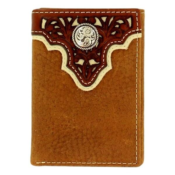 Ariat Western Wallet Men Pierce Overlay Trifold ID Window Tan - One size