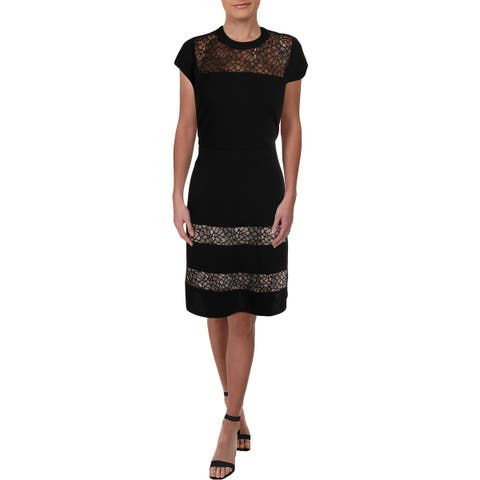 NY Collection Womens Petites Cocktail Dress Cap Sleeve Illusion