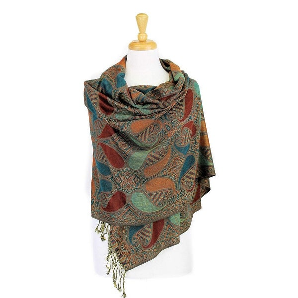 c2c9d37d3e0 Shop Double Layers Paisley Pashmina Shawl Scarf Stole - On Sale ...