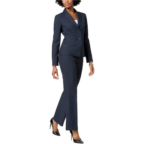 Le Suit Womens Striped Pant Suit, Blue, 10