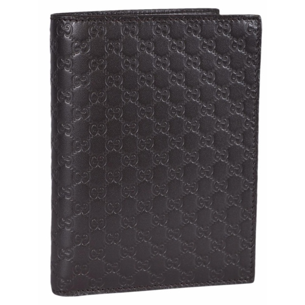 "Gucci Men's 346079 Brown Leather GG Guccissima Passport Holder Bifold Wallet - 5.75"" x 4.25"""