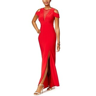 Nightway Illusion Mesh Cold Shoulder Evening Gown Dress - 8