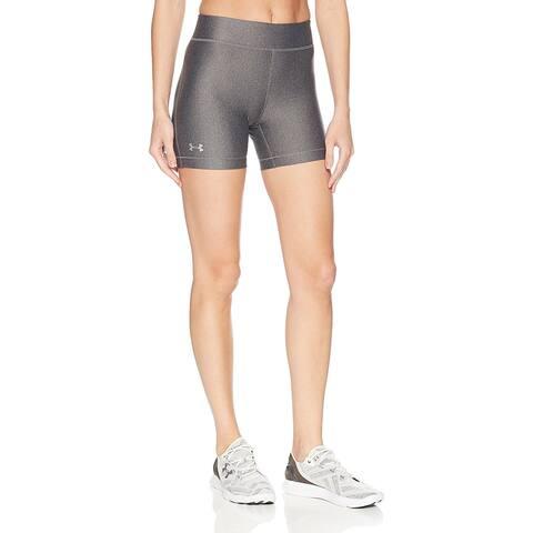 Under Armour Women's HeatGear Middy Shorts, Charcoal Light Heather, Medium