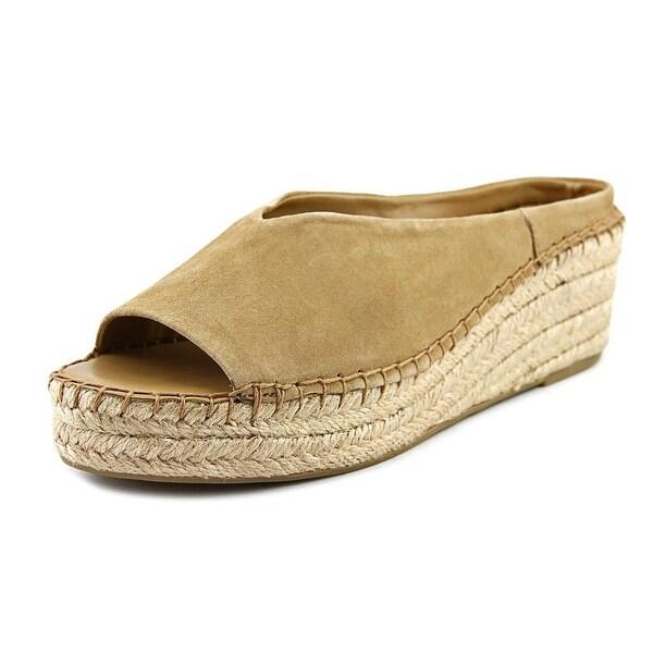 Franco Sarto Paige Women Open Toe Suede Tan Wedge Sandal
