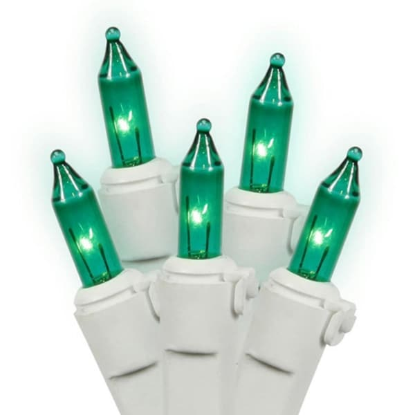 Set of 50 Teal Mini Christmas Lights - White Wire