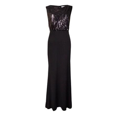 Calvin Klein Women's Sequined Sleeveless Jersey Gown - Black