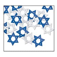 Club Pack of 12 Silver and Blue Fanci-Fetti Star of David Hanukkah Celebration Confetti Bags 0.5 oz.