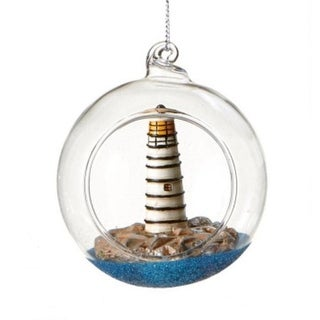 Seaside Escape Black and White Lighthouse Globe Shadow Box Nautical Glass Christmas Ornament 3""