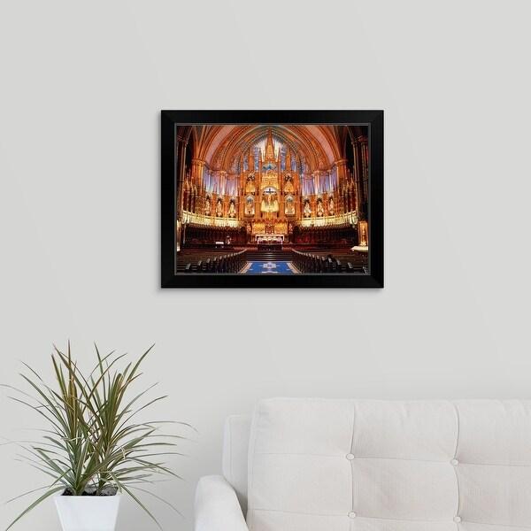 """""""Canada,Quebec,Montreal,interior view of Notre-Dame Basilica"""" Black Framed Print"""