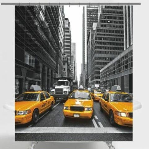 "Polyester Shower Curtain NYC Taxis 72"" x 72"""