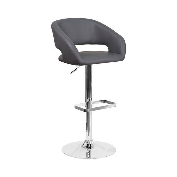 Shop Offex Contemporary Gray Vinyl Upholstery Adjustable Height Swivel Seat Barstool