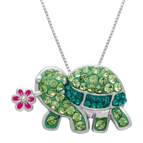 Crystaluxe Flower Turtle Pendant with Swarovski Elements Crystals in Sterling Silver-Plated Brass - Green