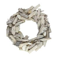 "13"" Nautical Driftwood and Seashell Artificial Summer Wreath - WHITE"