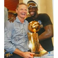 Steve Kerr Golden State Warriors Holding 2017 NBA Champs Trophy With Draymond Green 16x20 Photo