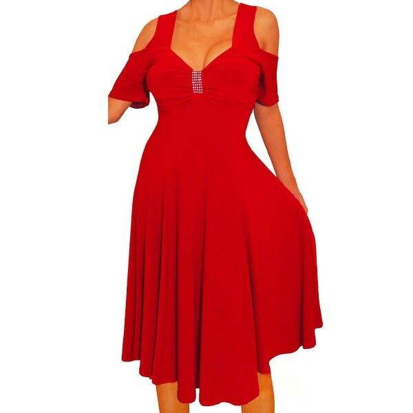 4958a1946b7 Shop Funfash Plus Size Women Open Cold Open Shoulder Red Dress Made ...