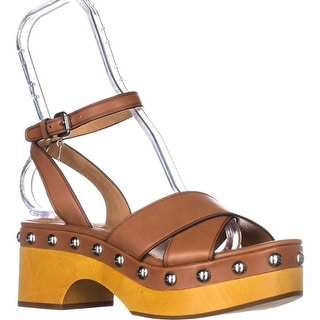 Coach Astor Studded Matte Calf Ankle Strap Sandals, Saddle