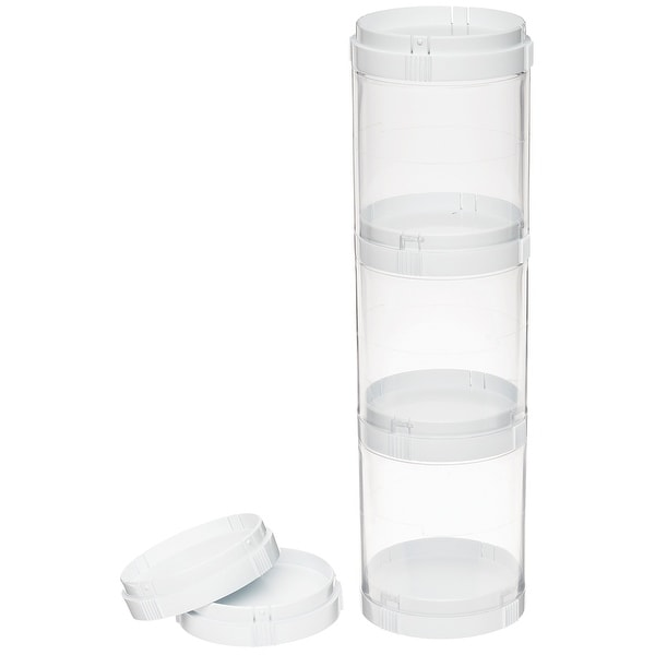 3 Compartment Stacking Storage Organizer W/6 Lids-White/Clear
