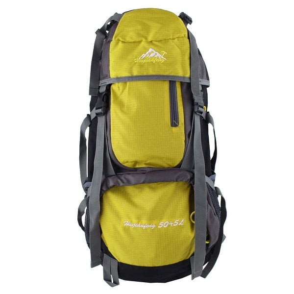 Unique Bargains HWJIANFENG Authorized Outdoor Riding Pack Sport Bag Hiking Backpack Yellow 55L