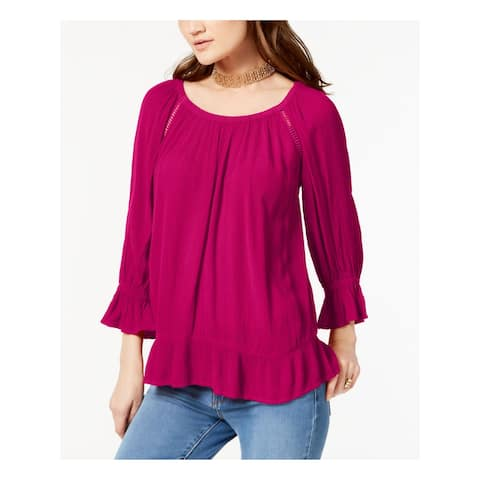 INC Womens Pink 3/4 Sleeve Jewel Neck Top Size S