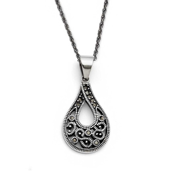 Chisel Stainless Steel Textured Teardrop Marcasite Necklace (2 mm) - 20 in