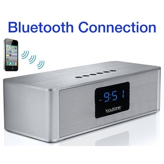 Boytone BT-88CB Bluetooth 4.1 Portable Alarm Clock Radio Wireless Speaker, Digital FM Tuning Built–in Rechargeable Battery, Mic,
