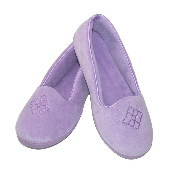 Dearfoams Women's Terry Velour Embroidered Closed Back Slipper