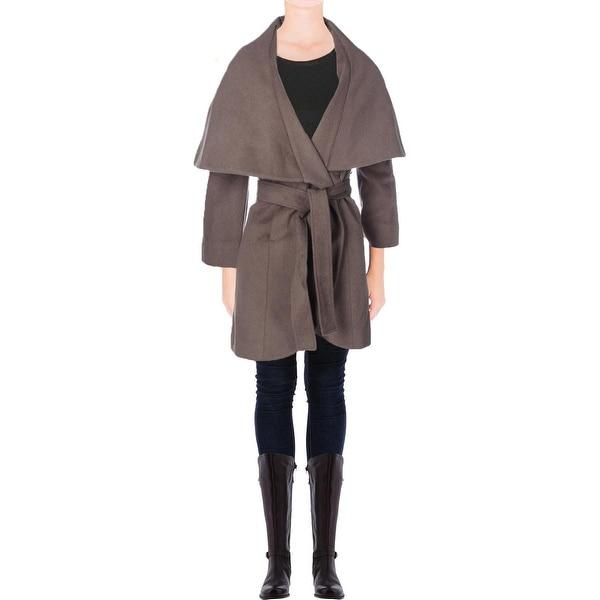T Tahari Womens Marla Coat Wool Blend Oversized